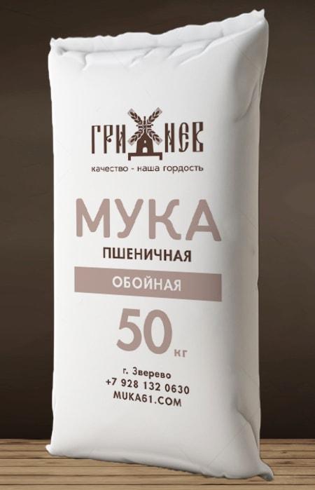 Мука обойная пшеничная 50 кг Гриднев