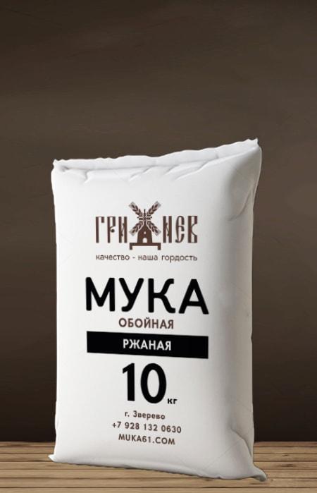 Мука обойная ржаная 10 кг Гриднев