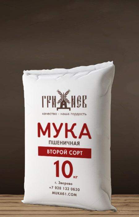 Мука пшеничная второй сорт 10 кг Гриднев