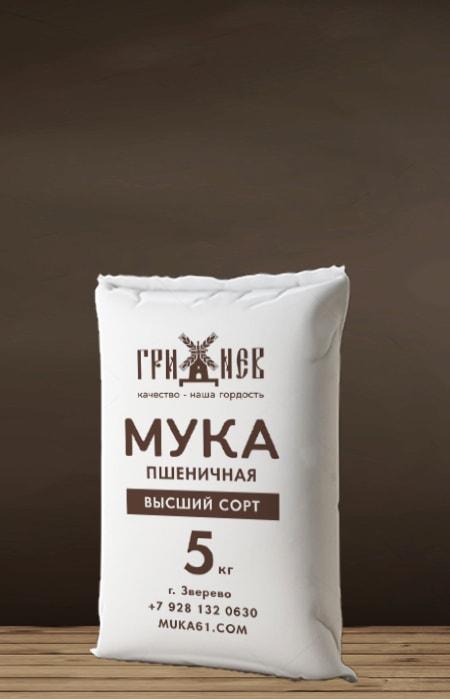 Мука пшеничная высший сорт 5 кг Гриднев